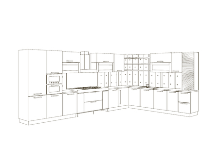 Contour of the kitchen of black lines isolated on white background. Front view. Wrieframe of the kitchen set. Vector illustration. Illusztráció