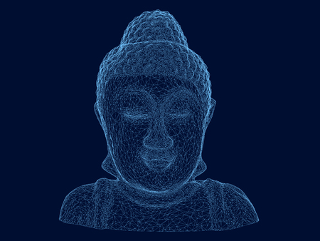 Wire frame polygonal of the Buddha. Buddha statue of blue lines on a dark background. 3D. Illustration