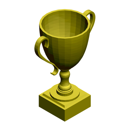 Polygonal gold cup. Isometric view. 3D Vector illustration