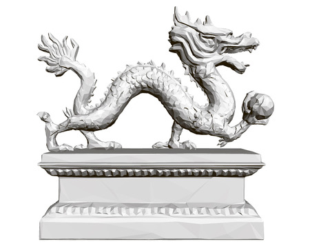Figurine of a polygonal dragon on a stand holding a sphere in its paw. 3D. Vector illustration