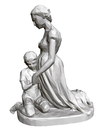 Polygonal statue of praying woman and children. 3D. Vector illustration. Standard-Bild - 123084890
