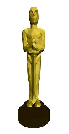 Polygonale Statuette Oscar. Vektorgrafik