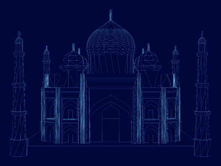 Wireframe of the Taj Mahal. Building of the blue lines on a dark background. Front view. Vector illustration