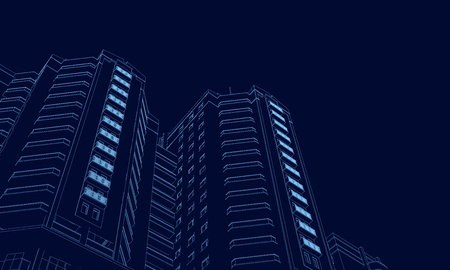 Wireframe of the building of the blue lines on a dark background. 3D. Polygonal building in perspective. Vector illustration.