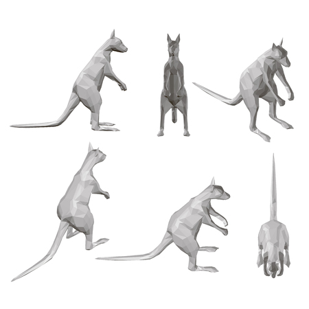 Set with polygonal kangaroos in different positions. 3D. Vector illustration. Ilustrace