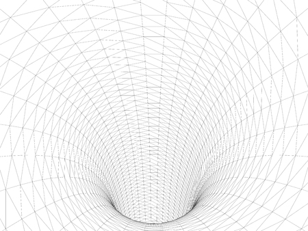 Wireframed hole. Vector abstract digital background. 3D tunnel grid. Wireframe 3D surface tunnel. Grid texture.
