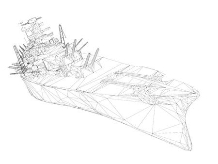 Navire de guerre polygonal filaire avec armes à feu. 3D. Illustration vectorielle