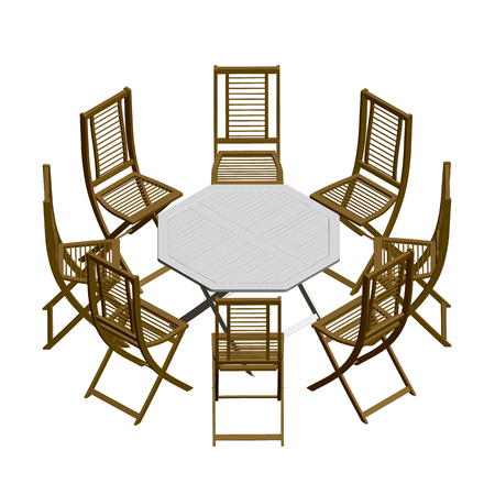 Summer table with chairs. Isometric view. 3D Vector illustration.