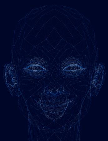 Wireframe smiling girl head. 3D. Vector illustration Illustration