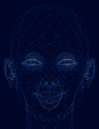 Wireframe smiling girl head. 3D. Vector illustration 矢量图像