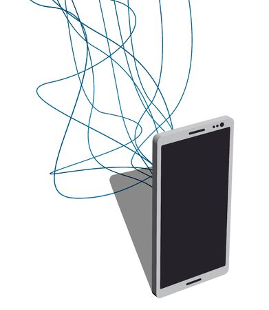 Phone with lots of wires connected to it. Vector illustration Illustration