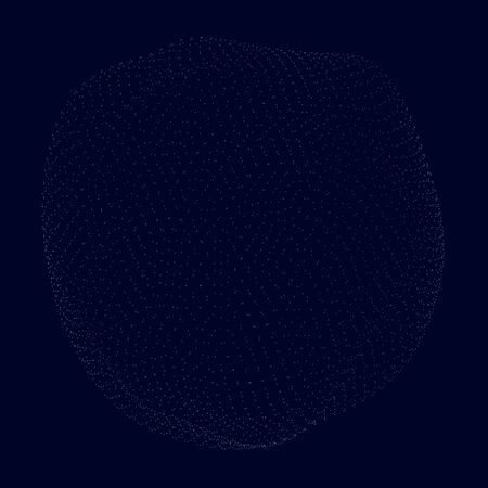 Sphere consisting of many small particles on a dark blue background. Vector illustration