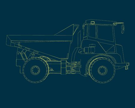 Contour of the truck of the yellow lines. Side view. Vector illustration