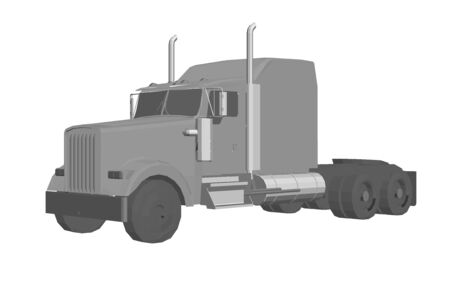 Truck without a trailer. 3D. Logo of the transport company. Vector illustration