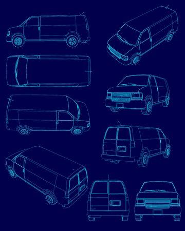 Sertie de contours de la camionnette. Aperçu des camionnettes avec différents types. Illustration vectorielle