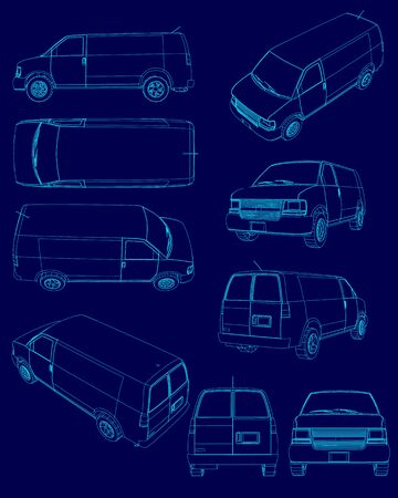 Set with contours of the van. Outline of vans with different types. Vector illustration Illustration