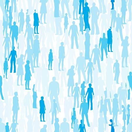 Seamless texture with silhouettes of people in blue with different shades. Vector illustration.