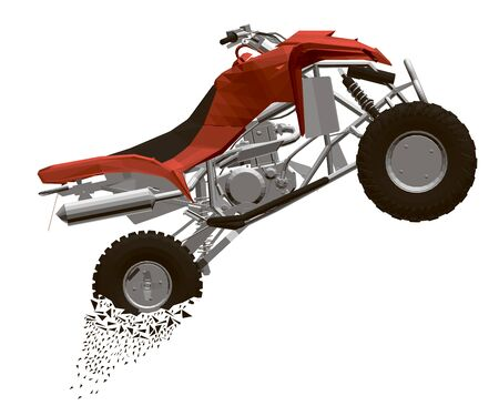 Polygonal quad bike flies with a trail of particles from the wheels. Side view. 3D. Vector illustration. Illustration