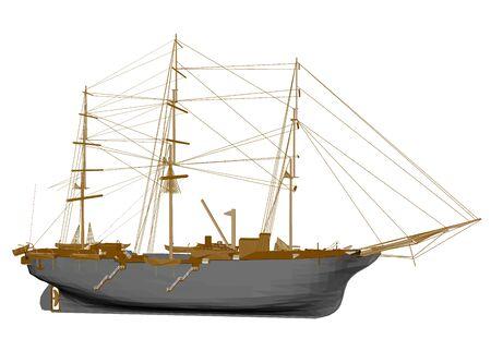 Polygonal sailing ship. Side view. 3D. Vector illustration