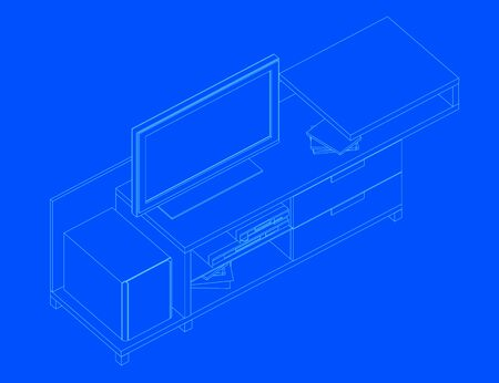 Contour bedside table with tv. Isometry. Vector illustration.