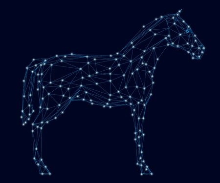 Horse wireframe with luminous lights. Side view. Vector illustration