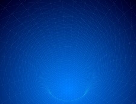 Polygonal tunnel going down. Wireframe of the tunnel of blue lines. Vector illustration.