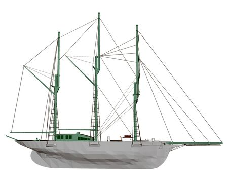 Polygonal sailing ship. Side view. Vector illustration Stock Illustratie