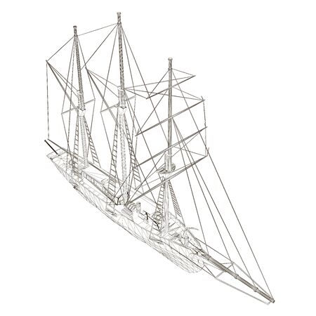 Wireframe sailing ship. View isometric. The contour of an old ship. Vector illustration Stock Illustratie