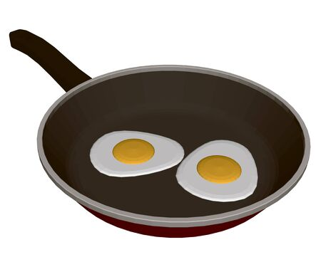 Realistic frying pan with fried eggs. View isometric. 3D. Vector illustration.