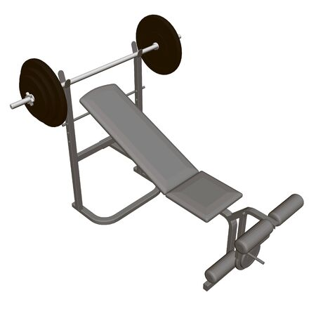 Realistic simulator for bench press lying and sitting. View isometric. 3D. Vector illustration. Ilustração