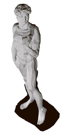 Estatua poligonal de David. Ver perspectiva. Aislado sobre fondo blanco estatua de David. 3D. Ilustración vectorial