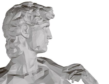 Background with a polygonal statue of David. Side view. Isolated on white background statue of the head of David. 3D. Vector illustration.