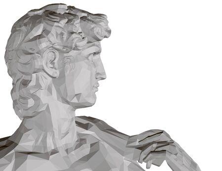Hintergrund mit einer polygonalen Davidstatue. Seitenansicht. Isoliert auf weißem Hintergrund Statue des Kopfes Davids. 3D. Vektor-Illustration.