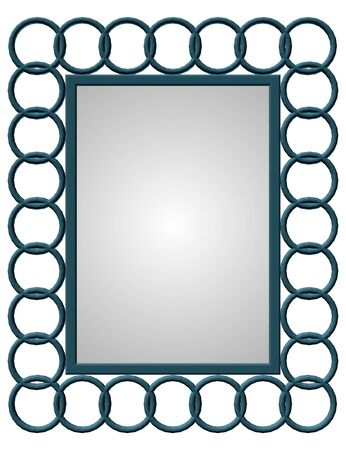 Decorative frame with circles on the sides. Vector illustration