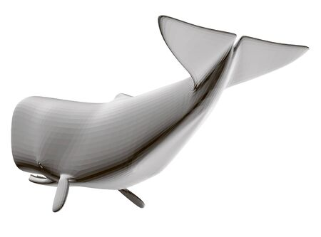 Polygonal white whale isolated on a white background. 3D. Vector illustration. 向量圖像