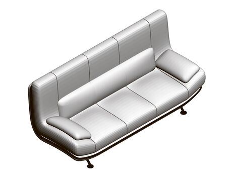 Polygonal realistic sofa Isolated on a white background. View isometric. 3D. Vector illustration