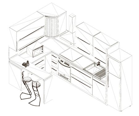 Kitchen wireframe from black lines on a white background. The contour of the kitchen with fittings. View isometric. 3D. Vector illustration.