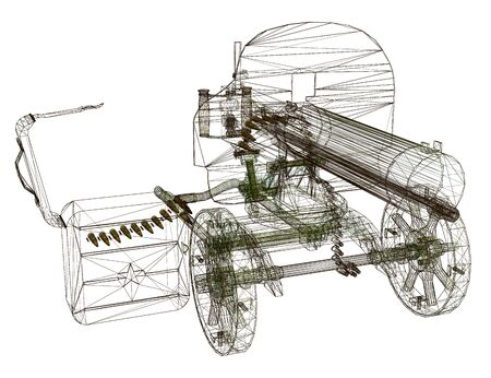 Wireframe of the Maxim machine gun. Machine gun isolated on a white background. View perspective. 3D. Vector illustration.