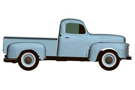 Vintage blue pickup. Polygonal pickup. Side view. 3D.