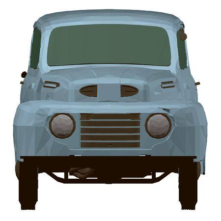 Vintage blue pickup. Polygonal pickup. Front view. 3D Vector illustration