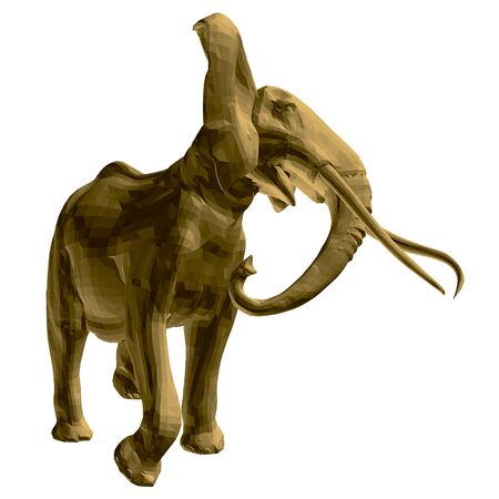 Polygonal golden elephant model. An elephant isolated on a white background walks waving tusks and a trunk. 3D. Vector illustration