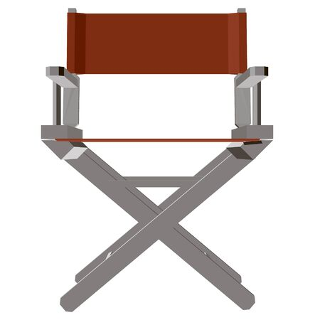 Summer folding chair. Red director s chair isolated on white background. Front view. 3D. Vector illustration. Foto de archivo - 138287281