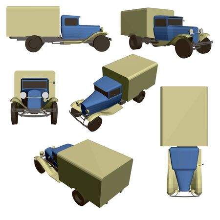 Set with an old truck from different angles. 3D. Vector illustration