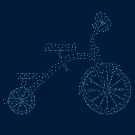 Contour of a tricycle of blue lines with luminous lights. Side view. Vector illustration Çizim