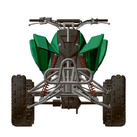 Polygonal green ATV isolated on a white background. Front view. 3D. Vector illustration Illustration