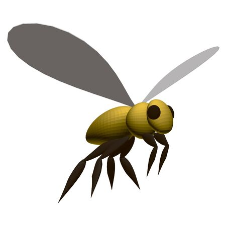 Polygonal yellow bee isolated on a white background. View isometric. 3D. Vector illustration