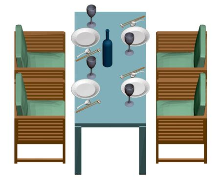 Table with plates, glasses and a bottle of wine. Japanese food. Four armchairs next to a rectangular table. View isometric. 3D. Vector illustration