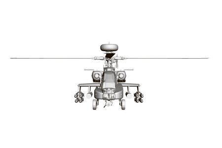 Detailed combat helicopter. Polygonal helicopter. Front view. 3D Vector illustration