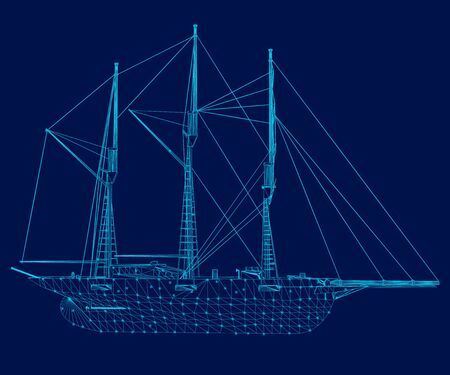 Wireframe of a sailing ship of blue lines on a dark background. Side view. Vector illustration