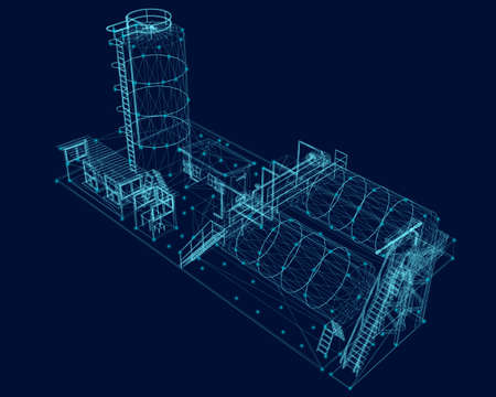 Wireframe of an industrial building from blue lines on a dark background. View isometric. Vector illustration